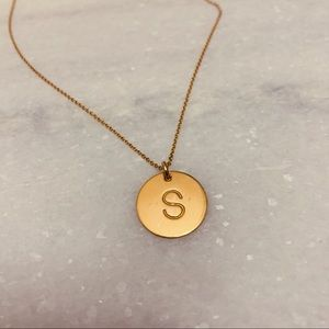 Gold letter Initial S necklace